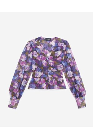 The Kooples Buttoned purple top with print