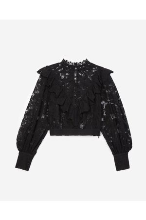 The Kooples Black lace top with panel