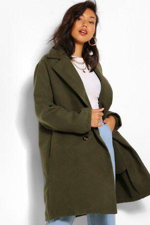 Boohoo Double Breasted Wool Look Coat, Green