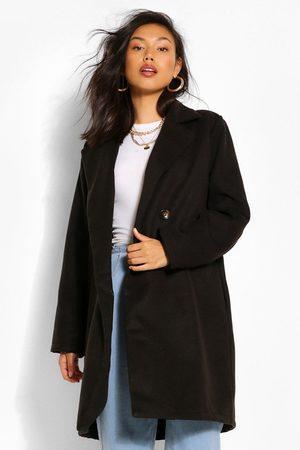 Boohoo Double Breasted Wool Look Coat, Black