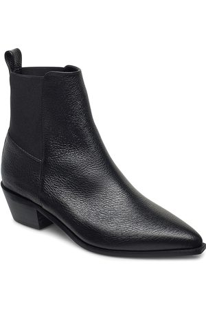 Flattered Kvinna Ankelboots - Willow Black Grained Leather Shoes Boots Ankle Boots Ankle Boots With Heel