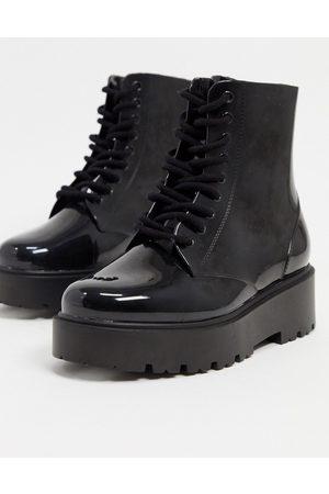 ASOS Kvinna Boots - – Generate – Svarta regnstövlar med snörning