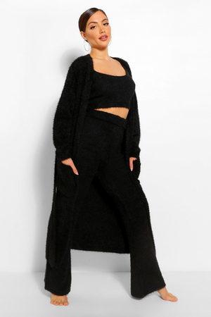 Boohoo Premium Fluffy Lounge Cardigan, Black
