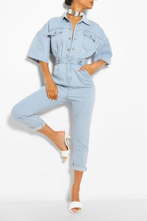 Boohoo Waist Detail Denim Jumpsuit