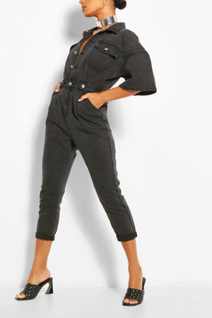 Boohoo Waist Detail Denim Jumpsuit, Black