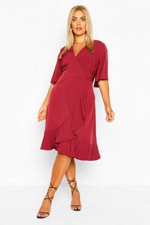Boohoo Plus Woven Ruffle Wrap Dress, Red