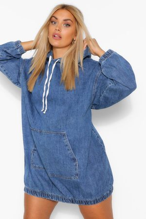 Boohoo Plus Hooded Denim Pullover Dress, Blue