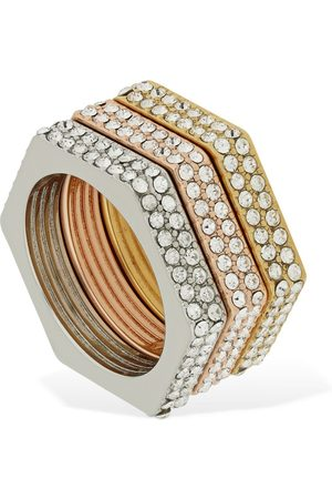 Burberry Set Of 3 Bolt Crystal Rings