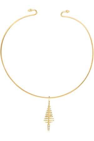 ANNOUSHKA 18kt yellow and white gold Garden party diamond tree pendant choker