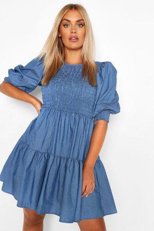 Boohoo Plus Chambray Shirred Smock Dress, Blue