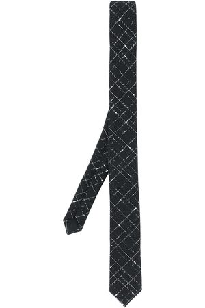 Saint Laurent Man Slipsar - Silver-tone check pattern tie