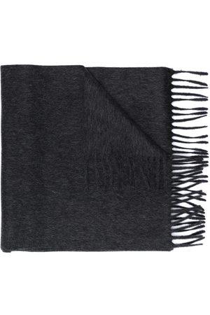 Saint Laurent Logo patch fringed scarf