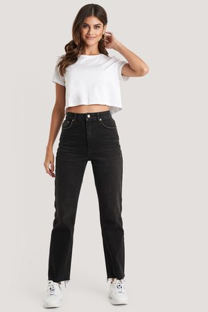 NA-KD High Waist Raw Hem Straight Jeans