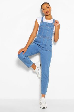 Boohoo Denim Roll Up Hem Short Dungaree, Blue