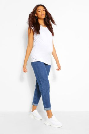 Boohoo Maternity Roll Hem Over The Bump Boyfriend Jeans, Blue