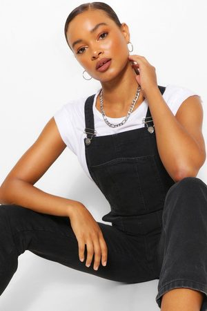 Boohoo Denim Roll Up Hem Short Dungaree, Black