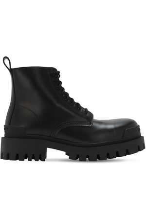 Balenciaga Strike Bootie Leather Lace-up Boots