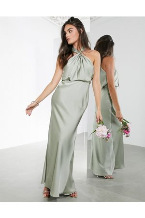 ASOS – Salviagrön maxiklänning i satin med rynkning och halterneck
