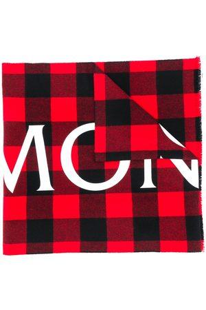 Moncler Logo-check wool scarf