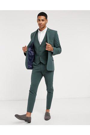 ASOS – Skogsgrön kostymväst med supersmal passform