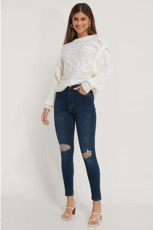 NA-KD Skinny Jeans Med Hög Midja Och Slitningar