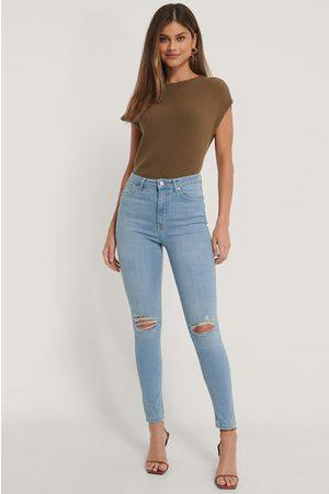 NA-KD Kvinna High waist - Skinny Jeans Med Hög Midja Och Slitningar