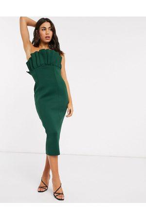 ASOS – bandeau-klänning i midimodell med solfjädersdesign framtill