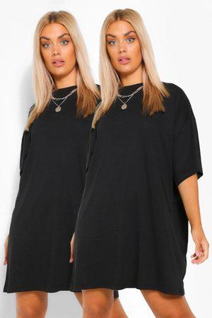 Boohoo Plus 2 Pack T-Shirt Dress, Black