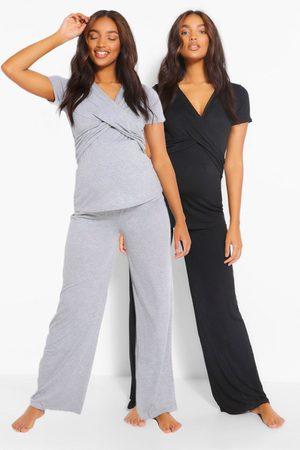 Boohoo Maternity 2Pk Wrap Nursing Pj Trouser Set, Black