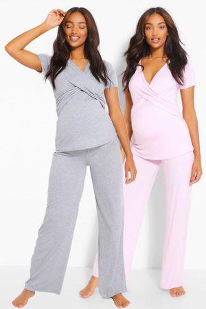 Boohoo Maternity 2Pk Wrap Nursing Pj Trouser Set, Pink