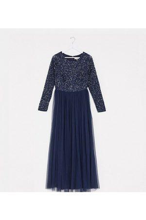 Maya Kvinna Maxiklänningar - – Marinblå långärmad maxiklänning i tyll för brudtärna med skira ton-i-ton-paljetter