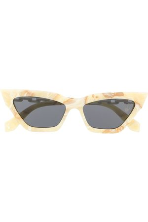 OFF-WHITE ACETATE CAT EYE SUNGLASSES YELLOW MARBLE