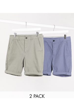 ASOS Man Shorts - – Khakigröna och blå chinosshorts med supersmal passform i 2-pack – Spara