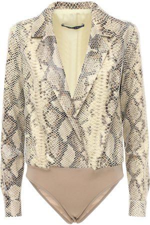 Zeynep Arcay Shirt-style Snake Print Leather Bodysuit