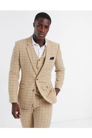 ASOS Man Kostymer - Wedding – Kamelfärgad, hundtandsmönstrad kavaj i ullblandning med extra smal passform, del av kostym