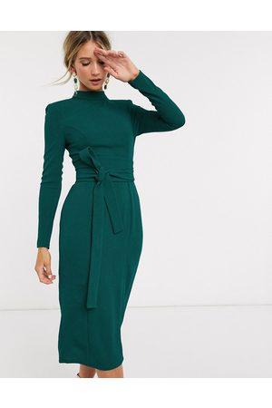ASOS Kvinna Midiklänningar - – långärmad midiklänning med obi-skärp