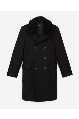 The Kooples Black coat in wool w/matched sheepskin collar