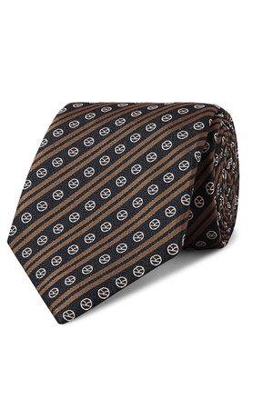 KINGSMAN Drake's 8cm Logo-Embroidered Striped Silk Tie