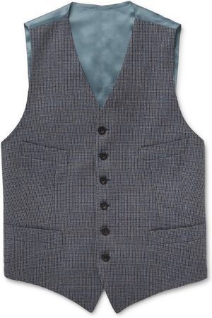 KINGSMAN Conrad Checked Wool and Satin Waistcoat