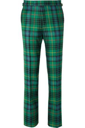 KINGSMAN Man Slim - Slim-Fit Checked Wool-Flannel Trousers