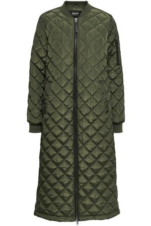 Only Long Quilted Coat Kvinna