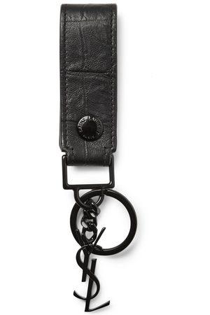Saint Laurent Man Nyckelringar - Croc-Effect Leather Key Fob