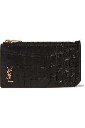 Saint Laurent Man Plånböcker - Logo-Appliquéd Croc-Effect Leather Wallet