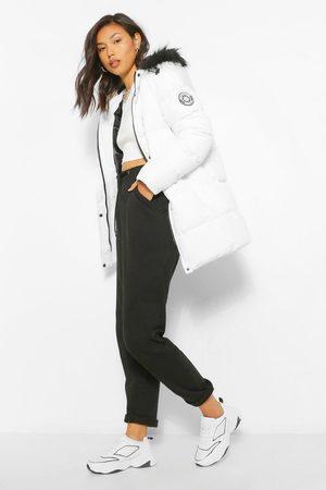 Technic Kvinna Parkasjackor - Luxe al Faux Fur Trim Parka, White