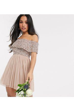 Maya Kvinna Klänningar - – Brudtärna – Kort brunrosa tyllklänning med bara axlar och paljetter