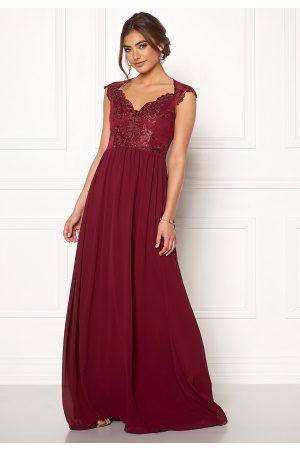 Moments New York Kvinna Festklänningar - Blossom Chiffon Gown Wine-red 36