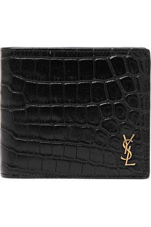 Saint Laurent Man Plånböcker - Logo-Appliquéd Croc-Effect Patent-Leather Billfold Wallet