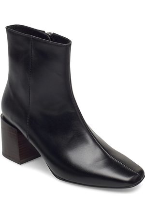 Flattered Kvinna Ankelboots - Ida Black Leather Shoes Boots Ankle Boots Ankle Boot - Heel