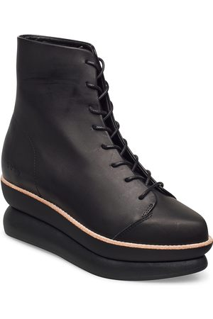 Gram Kvinna Ankelboots - 503g Lace-Up Black Leather Shoes Boots Ankle Boots Ankle Boot - Flat