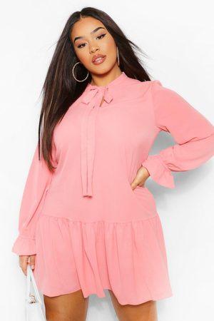 Boohoo Plus Pussybow Ruffle Hem Smock Dress, Pink